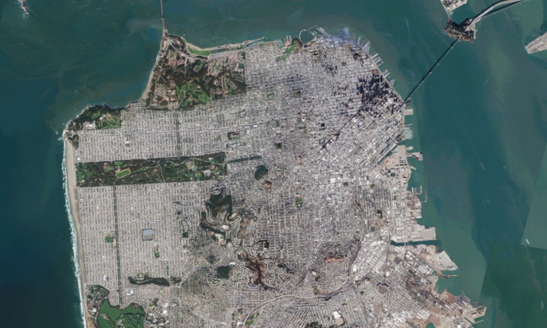 Satellite picture of a bay